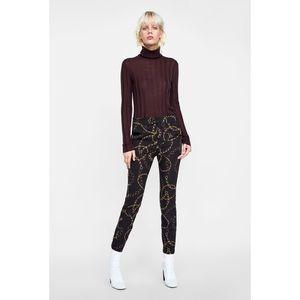 EUC ZARA Chain Print Trousers Sz 10